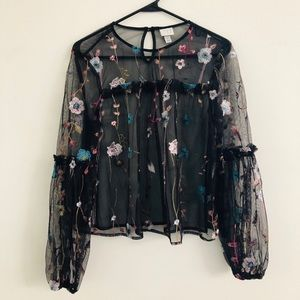 A New Day Black Floral Tulle Blouse Small